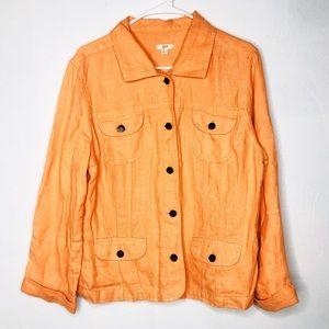 J. JILL Orange Linen Denim Button Up Jacket
